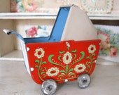 German Miniature Tin Litho Baby Doll Carriage Pram Buggy Stroller Toy