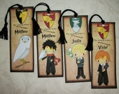 PERSoNalized HARRY POTTER BookMarks - Magical - Wizard Bookmarks - Set of 4 Laminated Bookmarks -  Made to Order - Custom - HP 446
