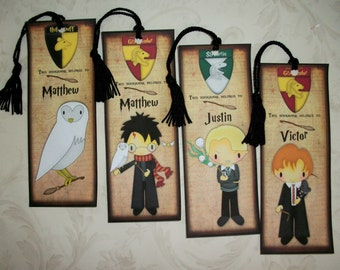 HARRY POTTER BookMarks - Magical Wizard Stocking Stuffers - Set of 4 Laminated Bookmarks - Personalized - Made to Order - Custom - HP 446