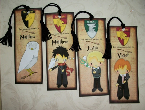 Personalized harry potter bookmarks magical wizard - Harry potter basteln ...
