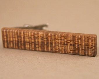 Skinny Tie Clip: Curly Old Growth Brown Hawaiian Koa