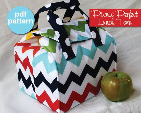 picnic perfect lunch tote pdf sewing pattern bento box carrier from binskistudio on etsy studio. Black Bedroom Furniture Sets. Home Design Ideas