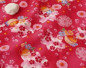 3579 - Japanese Lantern Cherry Blossom Floral Seersucker Cotton Fabric - 54 Inch (Width) x 1/2 Yard (Length)