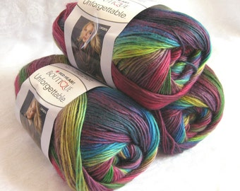 Red Heart Unforgettable  yarn STAINED GLASS, worsted weight, jewel tones of burgundy royal blue wine, Red Heart Boutique