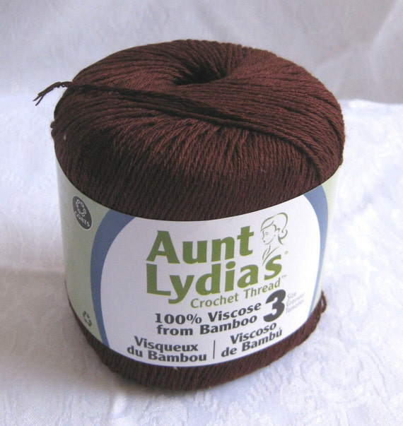Aunt Lydias Bamboo Thread, TWIG BROWN, size 3,  dark brown crochet thread