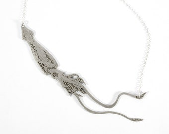 Giant Squid Necklace - Squid Jewelry - Silver Squid - Cephalopod - Tentacle Jewelry