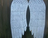 Wooden Angel Wings 36 inches Carved Distressed Grey, White and Pearl Sheen Wall Hanging