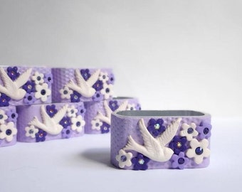 Lilac napkin rings, Purple Lavender Napkin Holders, Set of six (6) Cottage Chic Hostess Gift , Tabletop Decoration Handmade Table Decor
