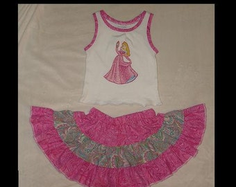 Disney's Sleeping Beauty Aurora Inspired Appliqued Knit Tank and Ruffled Tier Skirt(-----)Size 12 months and READY to SHIP