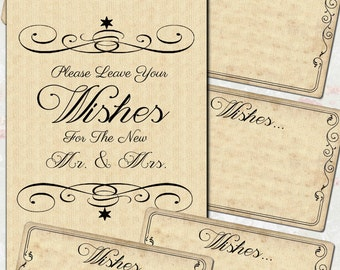 Wish Cards and Sign - Wedding - Shower - Digital Download - Instant Download