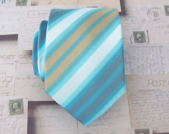 Necktie Blue Cream Gold Stripes Mens Tie