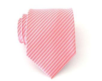 Mens Ties Pink Tie. Pink and White Stripes Mens Tie