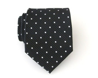 Mens Tie. Black White Dot Mens Necktie with Matching Pocket Square Option