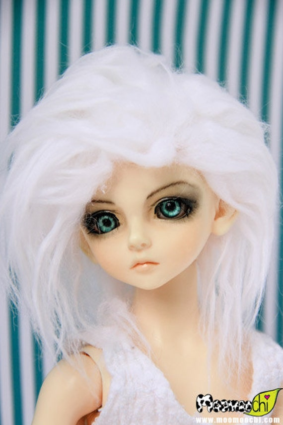 Akasarushi Color Wavy White Fur Wig Made for abjd doll size SD MSD tiny yosd and puki