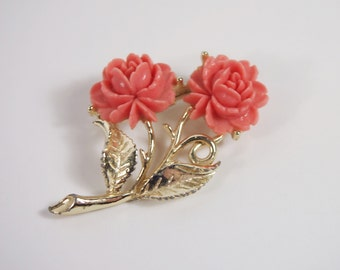 Plastic Rose Stone Brooch Vintage 60s Jewelry