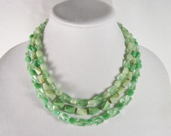 West Germany Green Plastic Bead Multi Strand Necklace Vintage 50s Jewelry