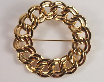 Monet Chain Circle Large Brooch Vintage 60s 70s Jewelry