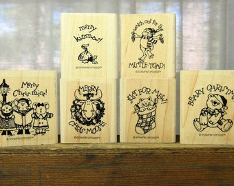 Christmas Wood Mounted Rubber Stamps Gently Used