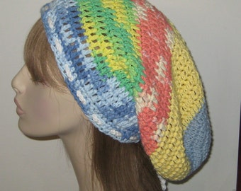 One of a Kind Cotton Slouchy Beanie Dread Tam/Crochet Hat