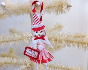 Cat Christmas Ornament PEPPERMINT kitty cat girl candy cane CHRISTMAS vintage style chenille ORNAMENT