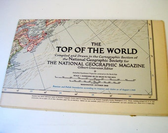 Vintage 1949 National Geographic map of The Top of the World