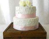 Rustic Chic Wedding- Wood Cake Stand (14 x 14 x 2.5)