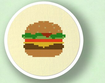 Hamburger. Food Modern Simple Cute Cross Stitch Pattern PDF File. Instant Download