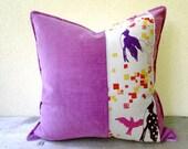 Dusty fuschia pillow cushion 16x16 - linen velvet pillow case - pillow with bird print - linen throw pillow - pillow with birds