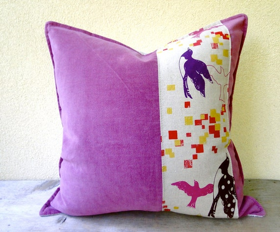 Fuschia Velvet Throw Pillows : Dusty fuschia pillow cushion 16x16 linen velvet pillow case