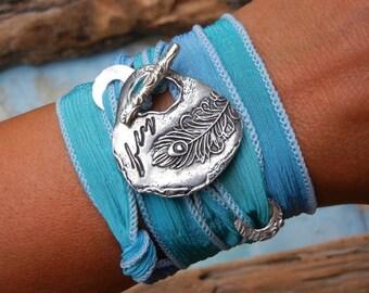 Silver Silk Wrap Bracelet, Sterling Silver Wrap Bracelet, Silver Wrap Bracelet