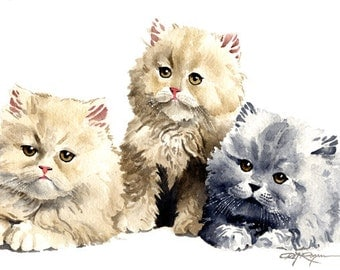 THREE KITTENS Art Print Signed by Artist DJ Rogers