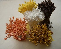 One bundle of Floral Stamen with Double Sided Matte Tiny Tips -- Golden Yellow OR Brown Or Snow Whiter (You Pick The Color)