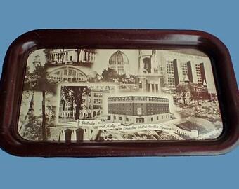 Vintage 50s Evanston Illinois Bank Tin Serving Tray 1955
