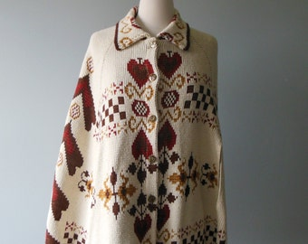 1970's Cream Cape with Gold, Brown and Rust Design