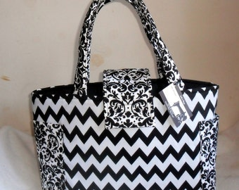 Large Black and White Chevron and Damask Diaper Bag Tote CHOICE OF INTERIOR