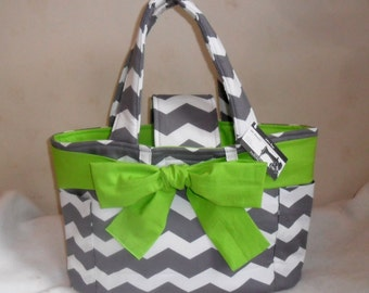 Large Gray Chevron with Lime Green Sash/Bow and Interior Diaper Bag Tote ACCENT COLOR CHOICE