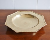 Vintage brass faux bamboo bowl