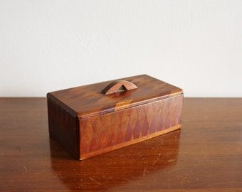 Vintage wooden box with wooden inlay