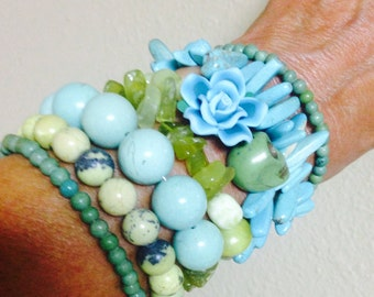 Classy Day of the Dead Lemon Jade and Turquoise Arm Candy Bracelet-Beautiful-