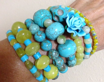 Rockabilly Day of the Dead 7-Wrap-Lemon Jade and Turquoise Howlite Beads with Turquoise Arm Candy Bracelet