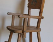 vintage 1950's doll wooden high chair