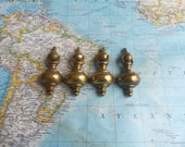 SALE! 4 small vintage curved brass metal pulls