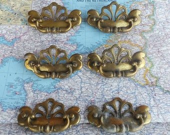 SALE! 6 vintage curved open design brass metal pull handles*