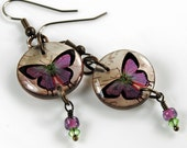Violet lime butterfly earrings, resin earrings, vintage butterfly earrings, nature inspired, gifts under 20