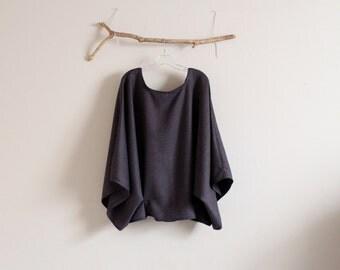 ready to wear oversized purple herringbone wool kimono wide sleeve top with folds / purple wool kimono wide sleeve top / over size wool top