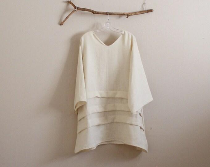 V neck plus size three pleats eco linen tunic made to order / comfy linen tunic / pleated linen tunic