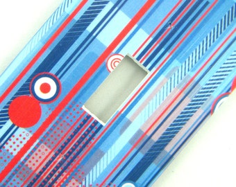 Light Switch Cover Switchplate -- Blue and Red Circles and Stripes