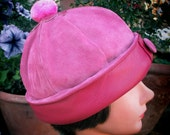 Leather Beanie in Hot Pink, Womens Cloche Style w/ PomPom