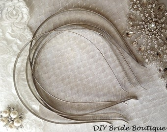 Silver plain colored iron metal headband with bent end - 10 pcs