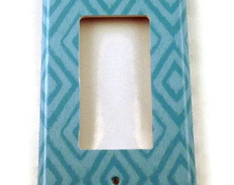 Wall Decor Rocker Light Switch Cover  Switch Plate Switchplate in  Blue Ikat  (134R)